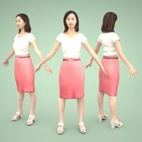 3D人モデルAポーズ 100_Aya