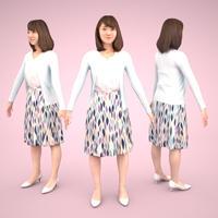3D人モデルAポーズ 020_Kana