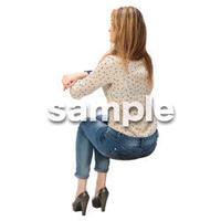 Cutout People 外国人-女性-座る BB_459