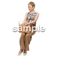 Cutout People 座る女性 KK_452