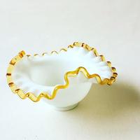 "U.S.A. 1940's Vintage ""FENTON"" Art Glass Amber Gold Crest Bowl"