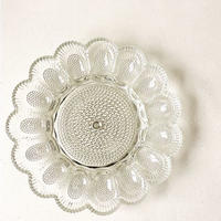 "U.S.A. Vintage ""INDIANA GLASS""Hobnail Egg Relish Plate (Clear)"