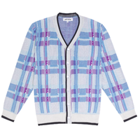 FUCKING AWESOME FREAK PLAID KNIT CARDIGAN-WHITE
