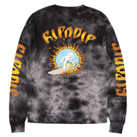 RIPNDIP SURF UP L/S TEE-BLACK LIGHTNING WASH