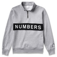 NUMBERS EDITION WORDMARK FLEECE QUARTER-ZIP    GREY