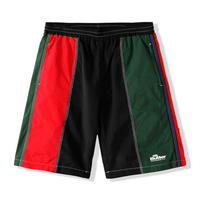 BUTTER GOODS PANEL SHORTS-BLACK/RED/FOREST