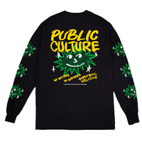 PUBLIC CULTURE BORDER L/S TEE-BLACK