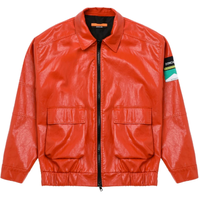 DON CARE SHORT LEATHER JACKET-RED
