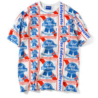 LAFAYETTE  X PABST BLUE RIBBON  ALLOVER S/S POCKET TEE- WHITE