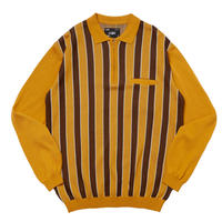WHIMSY STRIPED KNIT POLO-GOLD