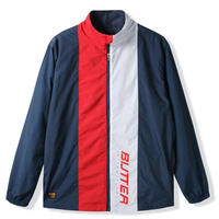 BUTTER GOODS RUNNER TRACKSUIT JACKET-NAVY / RED