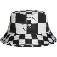 WAFFLESNCREAM CHECKERD BUCKET HAT BLACK/WHITE