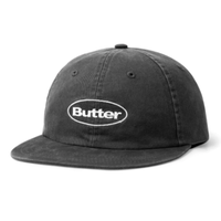 BUTTER GOODS WASHED BADGE 6 PANEL CAP-BLACK
