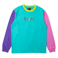 RIPNDIP EMBROIDERED LOGO L/S TEE-MULTI