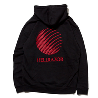 HELLRAZOR  LOGO EMBROIDERED PULLOVER HOODIE-BLACK