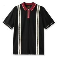 BUTTER GOODS NEWARK ZIP POLO SHIRT- BLACK