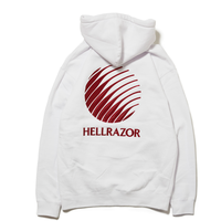 HELLRAZOR  LOGO EMBROIDERED PULLOVER HOODIE-WHITE