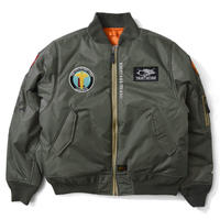 LAFAYETTE OLD GLORY ALLOVER PATCH FLIGHT JACKET  M, GREEN