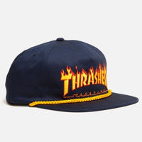 THRASHER    FLAME ROPE SNAPBACK HAT  NAVY