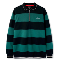 BUTTER GOODS IVY STRIPE 1/4 ZIP PULLOVER-FOREST/BLACK