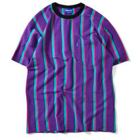 LAFAYETTE MULTI COLOR STRIPED S/S POCKET CUT SEWN-PURPLE