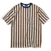 LAFAYETTE MULTI COLOR PAISLEY STRIPED POCKET TEE-WHITE