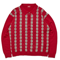 HELLRAZOR CHAIN HALFZIP KNIT SWEATER-BURGUNDY