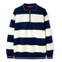 BUTTER GOODS IVY STRIPE 1/4 ZIP PULLOVER-NAVY/BONE