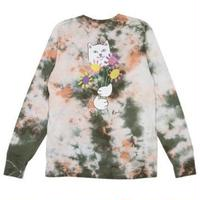 RIPNDIP   FLOWERS FOR BAE L/S TEE GREEN / PINK ACID WASH