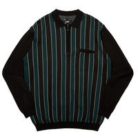 WHIMSY STRIPED KNIT POLO-BLACK
