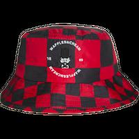 WAFFLESNCREAM CHECKERD BUCKET HAT BLACK/RED