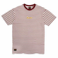 BUTTER GOODS  CYCLE STRIPE TEE  BURGUNDY