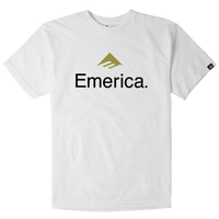 EMERICA SKATEBOARD LOGO TEE  WHITE