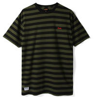 BUTTER GOODS CYCLE STRIPE TEE, OLIVE / BLACK