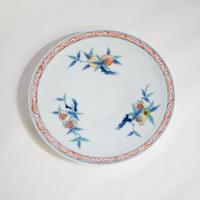 たなかふみえ 染錦三果文縁付5.5寸皿