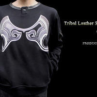 Tribal Leather Sweat Crew