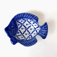 ブルー&ホワイト パイナップル柄 かわいい魚型タレ皿 TD-PT11PP-FS