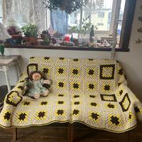 yellow&blown  motif knit blanket