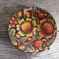 vintage flower wood plate