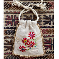 grain sack flower embroidery porch