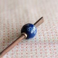 藍玉 花丸紋 蜻蛉玉簪