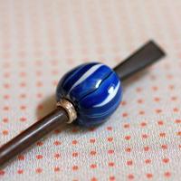 白玉 子持藍縞 蜻蛉玉簪(とんぼ玉かんざし)