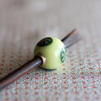 乳白玉 緑丸紋 蜻蛉玉簪