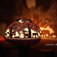 ひょうたんランプ--Lサイズ ペッタンコ 深夜の森