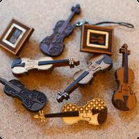 バイオリン型 ブローチ&ストラップ