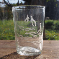 大正期 羊歯文グラヴィールガラスコップ