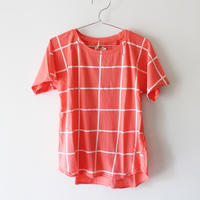 Kids grid raglan tee / persimmon