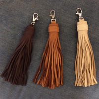 Deer skin big tassel key chain