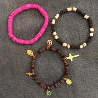 Happy & peace bracelets BROWN