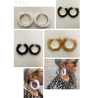 Mink hoop earrings